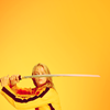 goodbyebird: Kill Bill: Kiddo on a yellow background, sword drawn. (ⓕ Bruce Lee who?)