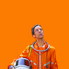 goodbyebird: Community: Abed wearing his orange space suit, looking up into the sky. (Community Greendale we have a problem)
