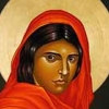 phoenixsong: Woman with dark skin and dark hair, draped in red cloth. (spirituality)