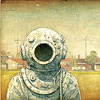 sasha_feather: Person in old-time SCUBA gear on a suburban lawn (Tales from Outer Suburbia)