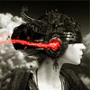 sasha_feather: Black, white, and red image of woman with futuristic helmet (Sci Fi Woman)