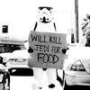 "shippen_stand: Storm trooper begging in modern traffic: ""Will kill Jedi for Food."" (storm trooper)"