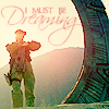 paian: Carter by a stargate at dawn, caption 'I must be dreaming' (dreaming by me)