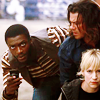 thingswithwings: Hardison, Parker, and Eliot peer around a corner together (lev - ot3 coming around the corner)