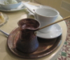 zirconium: photo of Greek style coffee, Larnaca, October 2011 (coffee in Cyprus)