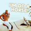 "gavagai: A man sitting on a horse, with text ""I'm on a horse"" (I'M ON A HORSE)"