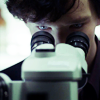 infinitelystranger: Sherlock concentrates looking into a microscope. (Default)