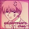 "xnera: Icon of Kyo from Fruits Basket, captioned ""Grumpypants-chan"".  (Grumpypants-chan)"