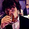 infinitelystranger: Sherlock drinking from a mug with a look of alarm. (coffee wtf)