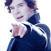 infinitelystranger: Sherlock pointing confidently off into the distance. (elf eyes)