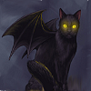 siliconshaman: Devil winged black cat with glowing eyes (Lucifur)