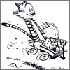 arduinna: Calvin and Hobbes, gleefully sledding in black and white (sledding whee)