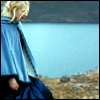 metonymy: Yvaine from the film Stardust, in profile before a lake. (yvaine: cloaked)