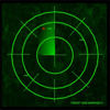 lo_rez: green-on-black classic radar circular grid (low-rez radar screen)