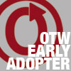 "littlemousling: Organization for Transformative Works symbol superimposed with ""OTW early adopter."" (OTW)"