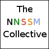 "nnssm_collective: a white icon with a black 1px frame that says ""The and Collective in black around a multicolored NNSSM (The NNSSM Collective)"