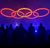 eien_herrison: London 2012 Opening Ceremony: The five Olympic rings with silhouettes of industrial workers (London 2012)