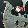 bookshop: illustrative art of a red-headed girl helming a steampunk airship, facing the wind, eyes closed. (0)