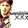 shopfront: Source: Dark Angel. Alec, standing. Text: genetically empowered. (DA - we prefer genetically empowered)