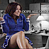shopfront: Source: One Tree Hill. Brooke grinning, hands displayed, sheepish. Text: OOPS ALL GONE. (OTH - oops all gone!)