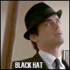 "jmtorres: Neal Caffrey from the show White Collar, with hat, text: ""Black Hat"" (black hat)"
