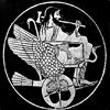 lferion: Black and white image of Hephaestus in his chariot (Gen_Hephaestus)