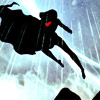 odditycollector: Supergirl hovering in black silhouette except for the red crest. Cape fluttering. Background is a roiling, raining sky. (Violence In Comics)