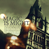 miles_bletchley: Pic of Hogwarts looming on the right with text that reads: 'Magic is might.' (I despise Muggles.)