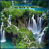 kaleidoscope_eyes: A collection of small waterfalls over mossy rocks. (waterfalls)