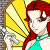 jainajade: female vampire hunter posing by stained glass window (happy)