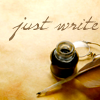 em_kellesvig: Pen and ink with the words: Just write (JustWrite)