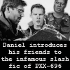 stargateslash: Daniel, Cam and Teal'c looking at a book. Caption: 'Daniel introduces his friends to the infamous slash fic of PXX-696.' (daniel introduces his friends to slash)