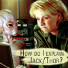 stargateslash: Thor staring at Carter. Carter staring at laptop computer. Carter thought bubble: 'How do I explain Jack/Thor?' (jack/thor by hsapiens)