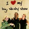 stargateslash: Two male and two female Stargate SG-1 cast members hugging. Captioned 'I heart my big slashy show.' (slashy show by hsapiens)