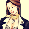 dcupsofjustice: Mia Fey, smiling, head tilted and eyes closed. ([o] it's all good)