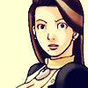 dcupsofjustice: Mia Fey, eyes wide at the viewer, not very pleased. ([o] seriously don't do that shit)