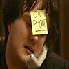 gritkitty: Bernard Black is on the phone; the Post-it on his forehead says so. (phone)