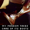 "helens78: A close-up of a boot with text ""My fandom takes care of its boots."" (ds: fraser care of boots)"