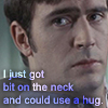 "aris_tgd: Mike Colefield ""I just got bit on the neck and could use a hug"" (Mike bit on the neck)"