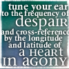 """aris_tgd: """"Tune your ear to the frequency of despair and cross-reference by the latitude and longitude of a heart in agony."""" (Lyttle Lytton Spider-Man Agony)"""