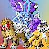tyger: Entei, Suicine, and Raioku sprites (pokémon - legendary beasts)