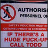 "denise: Image: a construction sign with safety information & ""If there's a huge fuck-up, call Todd"" at the bottom (who the fuck is todd?)"