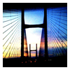 thedivinegoat: A photo of a sunset through the Second Severn Crossing (My Photo - Bridge)