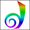 invisionary: Stylized D, in rainbow colors (Rainbow D)
