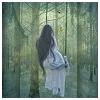 shaynin: a woman with black hair, wearing a flowing white dress, running away through a forest  (forest)