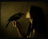 ironed_orchid: sepia image of woman kissing a bird (underworld (by regyt))