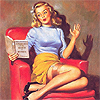 ironed_orchid: pin up: woman reading (reading)