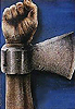 ironed_orchid: a raise fist with a axe blade on the wrist (axe/fist)