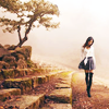tragedy_virus: a girl walking on a cobblestone street with a small tree nearby (girl walking)