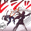 dcupsofjustice: Mia Fey from behind, smacking Phoenix Wright with a bamboo stick. ([o] this ain't no video game)